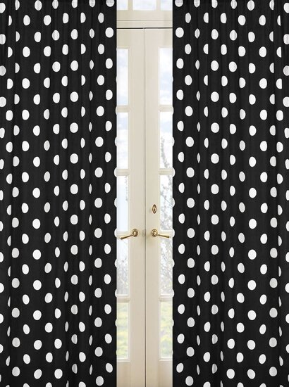 Hot Dot Polka dots Semi-Sheer Rod pocket Curtain Panels (Set of 2) by Sweet Jojo Designs