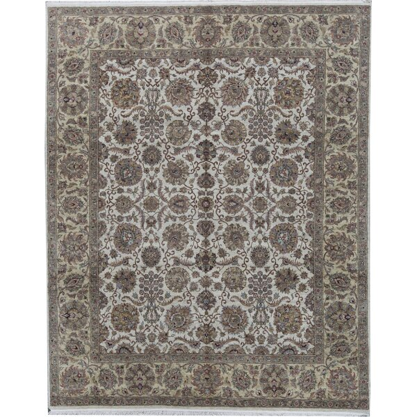 Oriental Hand-Knotted 7.10' x 9.10' Wool Ivory/Gold Area Rug