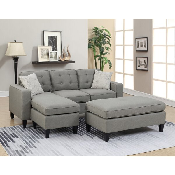 #1 Cray Reversible Sectional With Ottoman By Ebern Designs Best Design