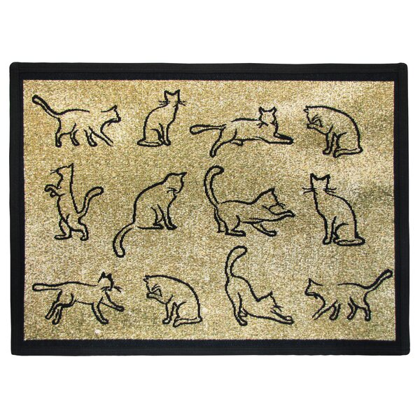 PB Paws & Co. Gold / Black Kitten Fun Tapestry Area Rug by Park B Smith Ltd
