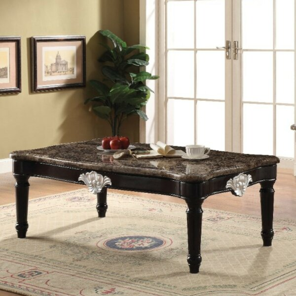 Almus Traditional Rectangular Marble and Wood Coffee Table by Astoria Grand