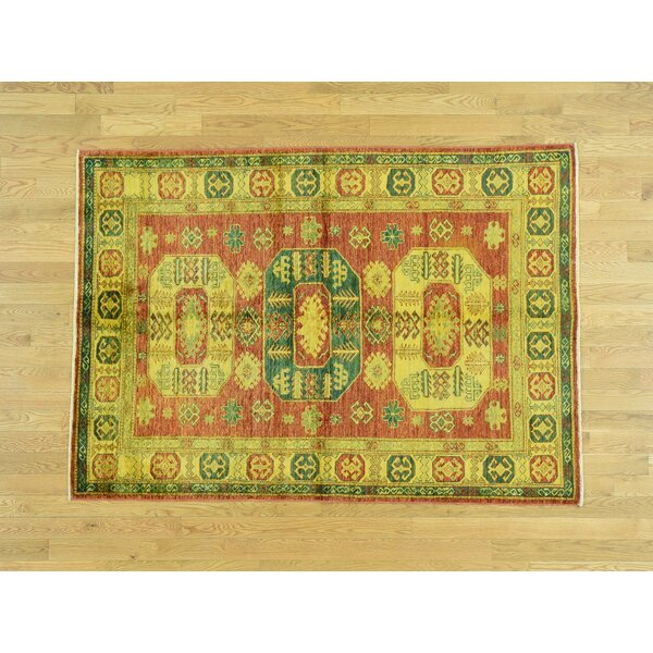 One-of-a-Kind Bechtold Overdyed Handwoven Yellow Wool Area Rug by Isabelline