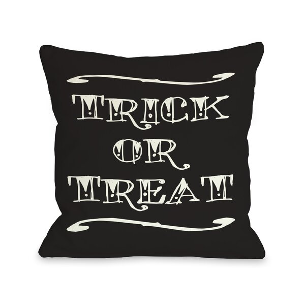 Trick or Treat Tattoo Letters Lumbar Pillow by One Bella Casa