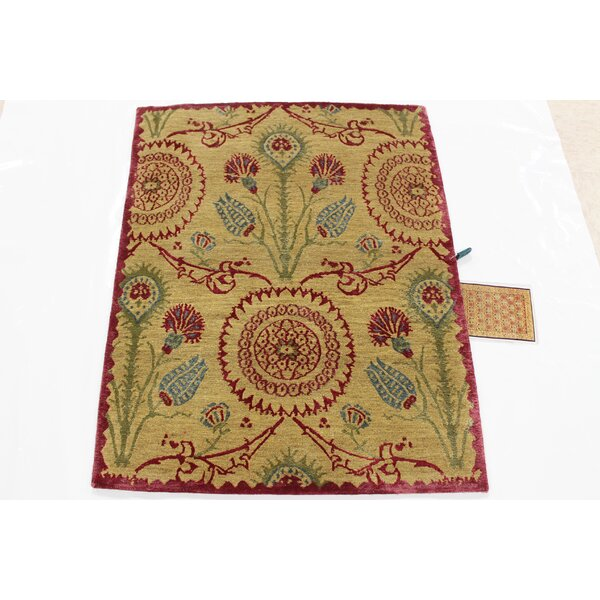 Idora Tibetan Hand-Knotted Red/Beige/Green Area Rug by World Menagerie