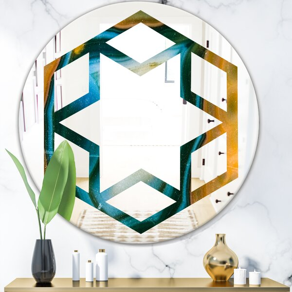 Colorful Agate Pattern Hexagon Star Eclectic Frameless Wall Mirror