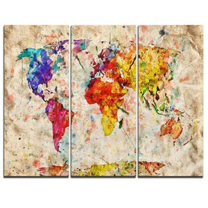 Vintage World Map Watercolor - 3 Piece Graphic Art on Wrapped Canvas Set by Design Art