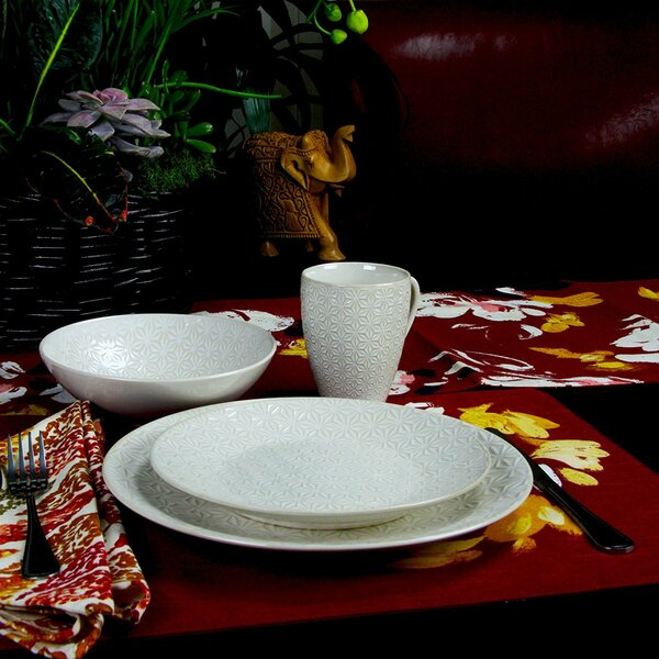 Terrace Textured 16 Piece Dinnerware Set, Service for 4 by Elama
