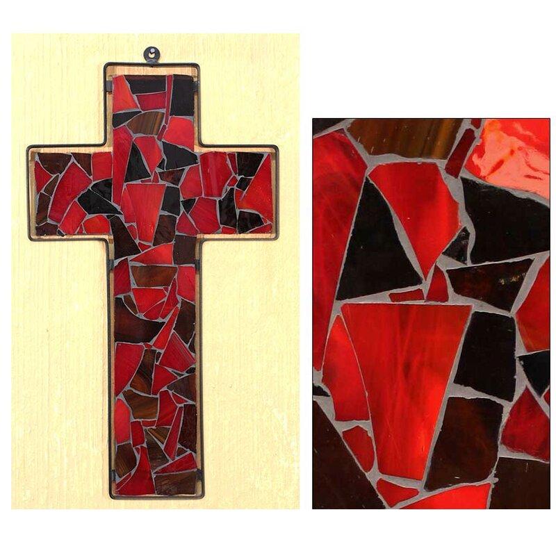 Novica Love Stained Glass Cross Wall Décor | Wayfair
