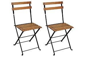 French European Café Folding Patio Dining Chair (Set of 2) by Furniture Designhouse