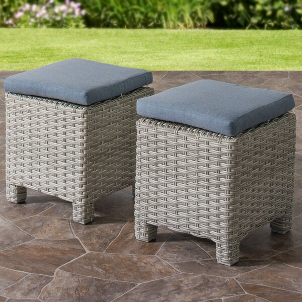 Killingworth Weather Resistant Resin Wicker Ottoman with Cushions (Set of 2) by Rosecliff Heights