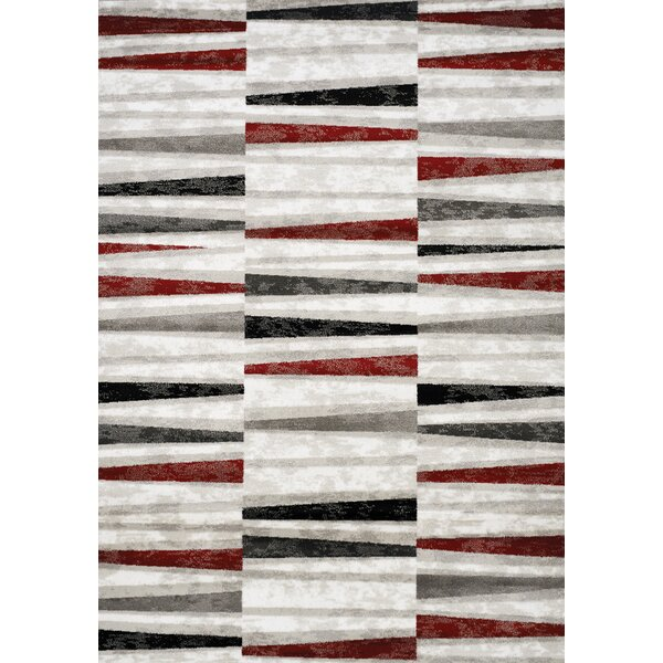 Mariam Stripes Red/Black/Gray Area Rug by Brayden Studio