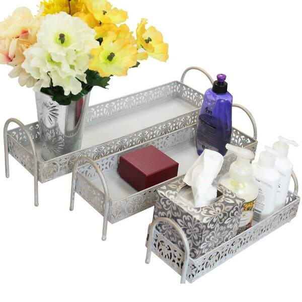 3-Piece Metal Storage Bathroom Accessory Tray Set by Ikee Design