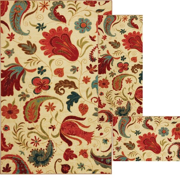 Ashley 3 Piece Tropical Acres Area Rug Set by Red Barrel Studio