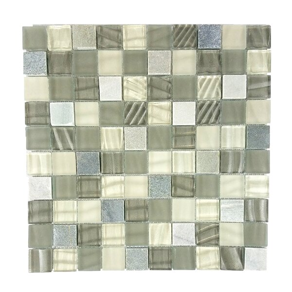 New Era II 1.25 x 1.25 Glass Mosaic Tile in Shell Gray by Abolos
