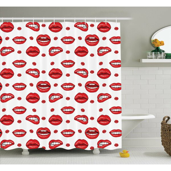 Various Lip Forms in Several Gestures Shower Curtain Set by Ambesonne