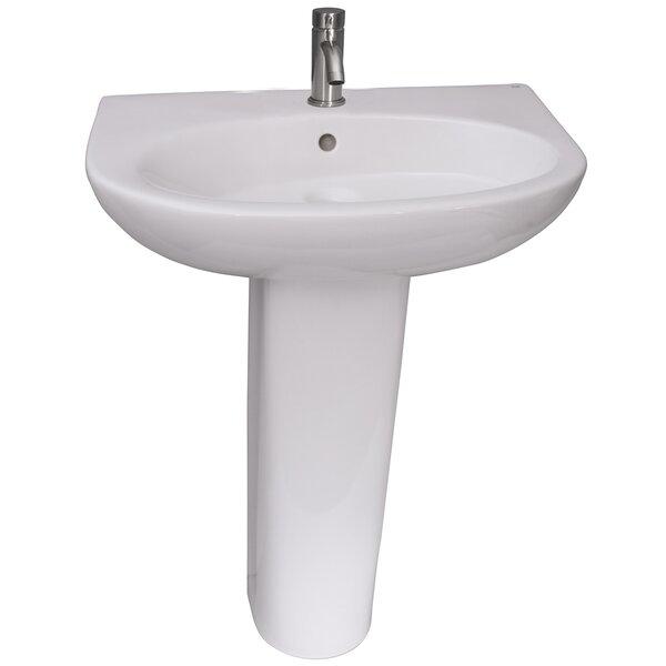 Infinity 600 Vitreous China U-Shaped 24 Pedestal Bathroom Sink with Overflow
