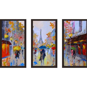 Paris Stroll 3 Piece Framed Painting Print Set by Picture Perfect International