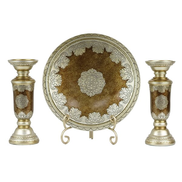 Angelique 4 Piece Polyresin Candlestick Set by D'L