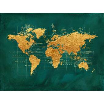 East Urban Home World Map Series: Gold Foil On Denim Graphic ... on world maps history, world maps religion, old world map sale, world maps france, world maps software, world map globe sale, world maps games, world maps art, world maps furniture, world maps books,