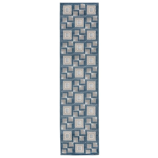 Kari Boxes Blue/Gray Area Rug by Wrought Studio