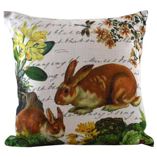 Bunny and Dragonfly Insert Throw Pillow by Golden Hill Studio