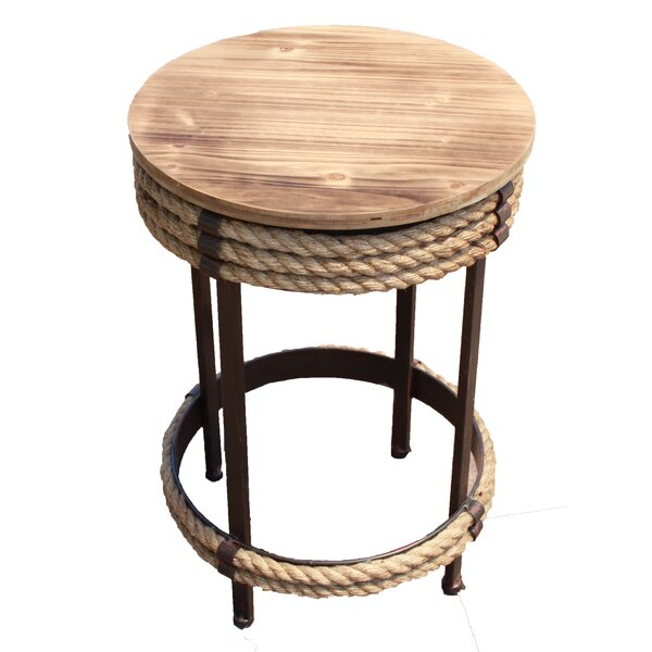 Bruner Wood and Metal Accent Stool with Rope by Longshore Tides