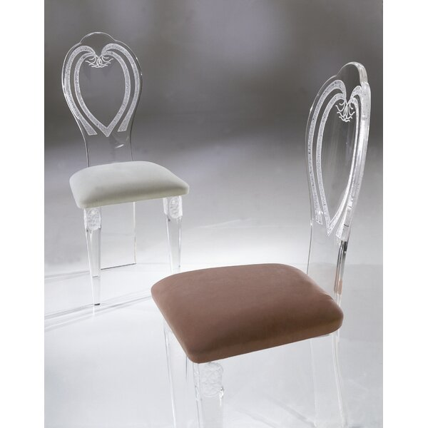 Classic Upholstered Plastic King Louis Back Side Chair in White by Shahrooz Shahrooz