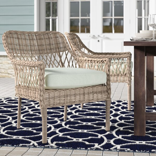 Paul Stacking Wicker Patio Dining Chair with Cushion (Set of 2) by Rosecliff Heights
