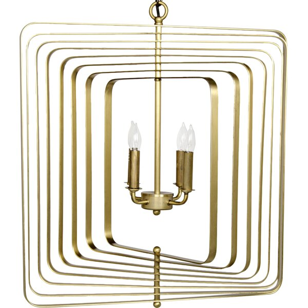 Demaclema 4-Light Candle Style Geometric Chandelier By Noir