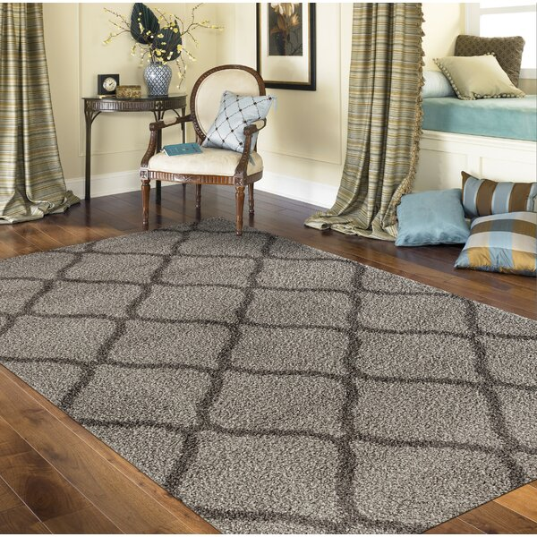 Strothers Shag Rectangle Gray Area Rug by Charlton Home