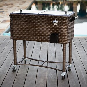 80 Qt. Wicker Patio Rolling Cooler
