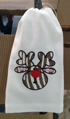 Huck Holiday Applique Reindeer Egyptian-Quality Cotton Hand Towel by Samantha Grace Designs