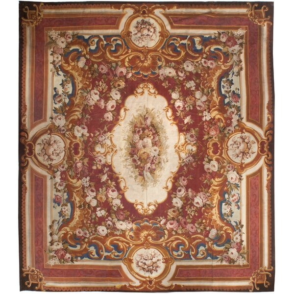 One-of-a-Kind Hand-Knotted Before 1900 Red 14'7 x 17'2 Wool Area Rug