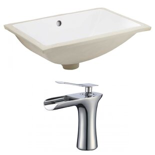 Order Ceramic Rectangular Undermount Bathroom Sink with Faucet and Overflow ByAmerican Imaginations