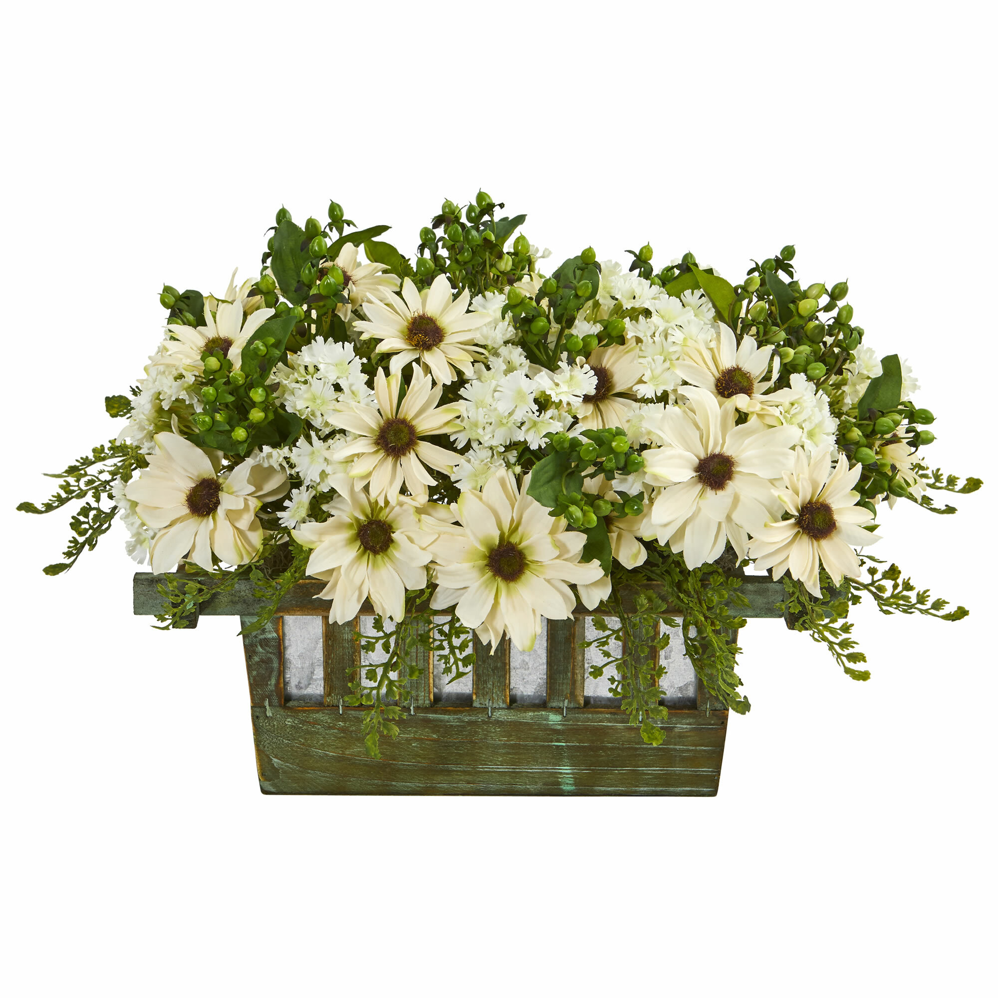 Gracie oaks daisy floral arrangement in decorative planter wayfair izmirmasajfo