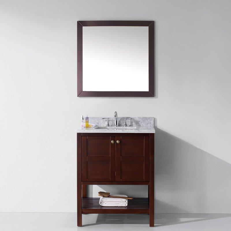 Brayden Studio Sato 30 Single Bathroom Vanity Set With White Marble Top And Mirror Reviews Wayfair
