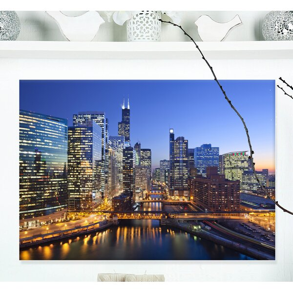 Chicago River with Bridges at Sunset Cityscape Photographic Print on Wrapped Canvas by Design Art