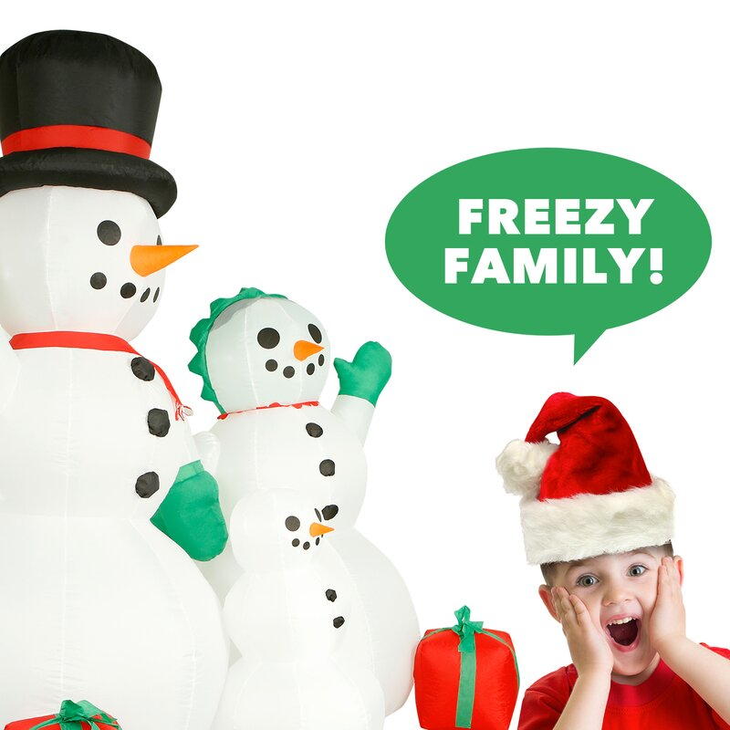 Christmas Snowman Family Light Box Decor 10 Inch H