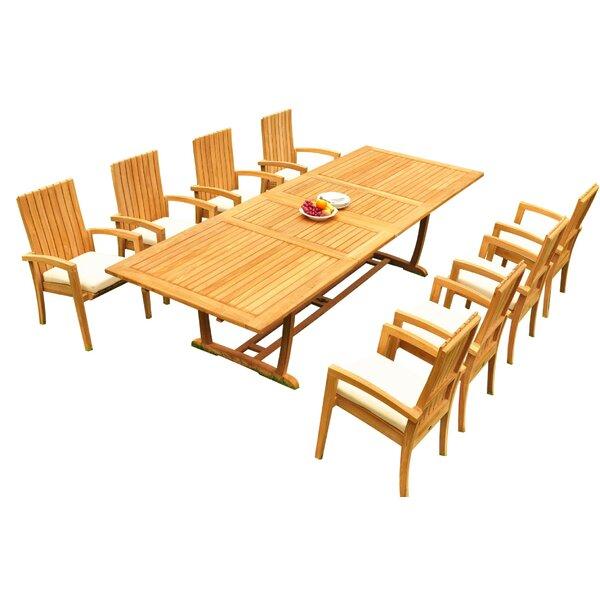 Willis 9 Piece Teak Dining Set Bayou Breeze W001959802