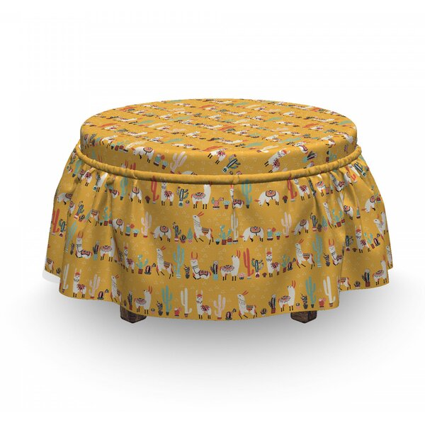 Doodle Animals Ethnic Ottoman Slipcover (Set Of 2) By East Urban Home