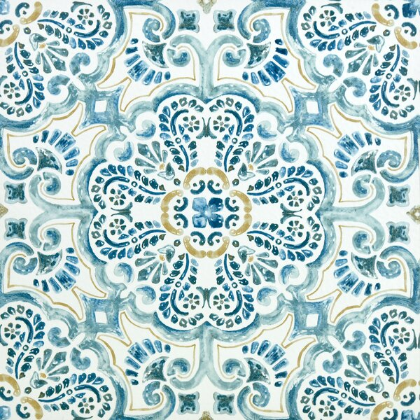 Fontaine Peel and Stick 12 x 12 Vinyl Tile in Blue by WallPops!