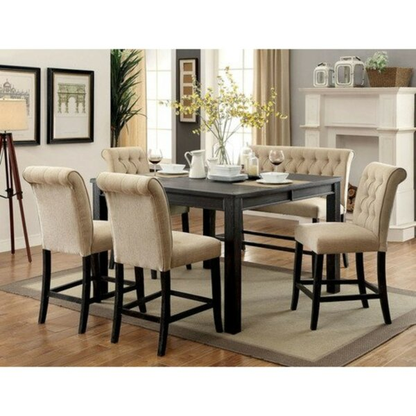 Duley Rustic 6 Piece Counter Height Solid Wood Dining Set by Gracie Oaks Gracie Oaks