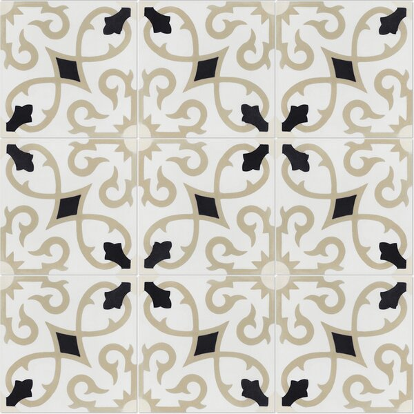 Charlotte Primero 8 x 8 Cement Field Tile in Off-White/Black (Set of 12) by Villa Lagoon Tile