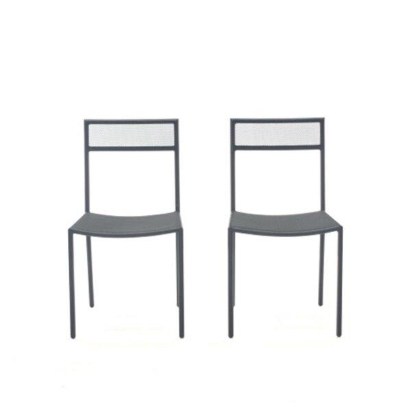 Farmingdale Upholstered Ladder Back Side Chair in Black (Set of 2) by Brayden Studio Brayden Studio
