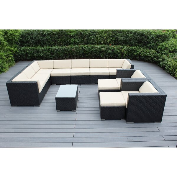 Konen 12 Piece Rattan Sectional Seating Group with Cushions by Bayou Breeze