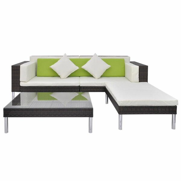 Ventnor Garden 4 Piece Sectional Seating Group with Cushions by Ivy Bronx