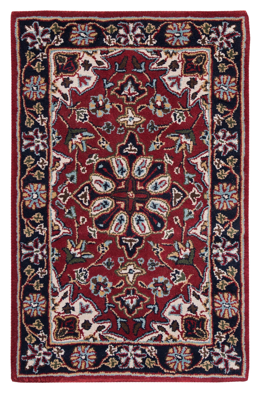 World Menagerie Clay Oriental Handmade Tufted Wool Red Black Area Rug Wayfair