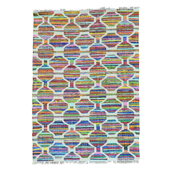 One-of-a-Kind Dyess Flat Weave Hand-Woven Silk Pink/Blue Area Rug by Bungalow Rose