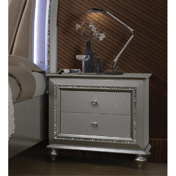 2 - Drawer Nightstand in Champagne by Rosdorf Park Rosdorf Park