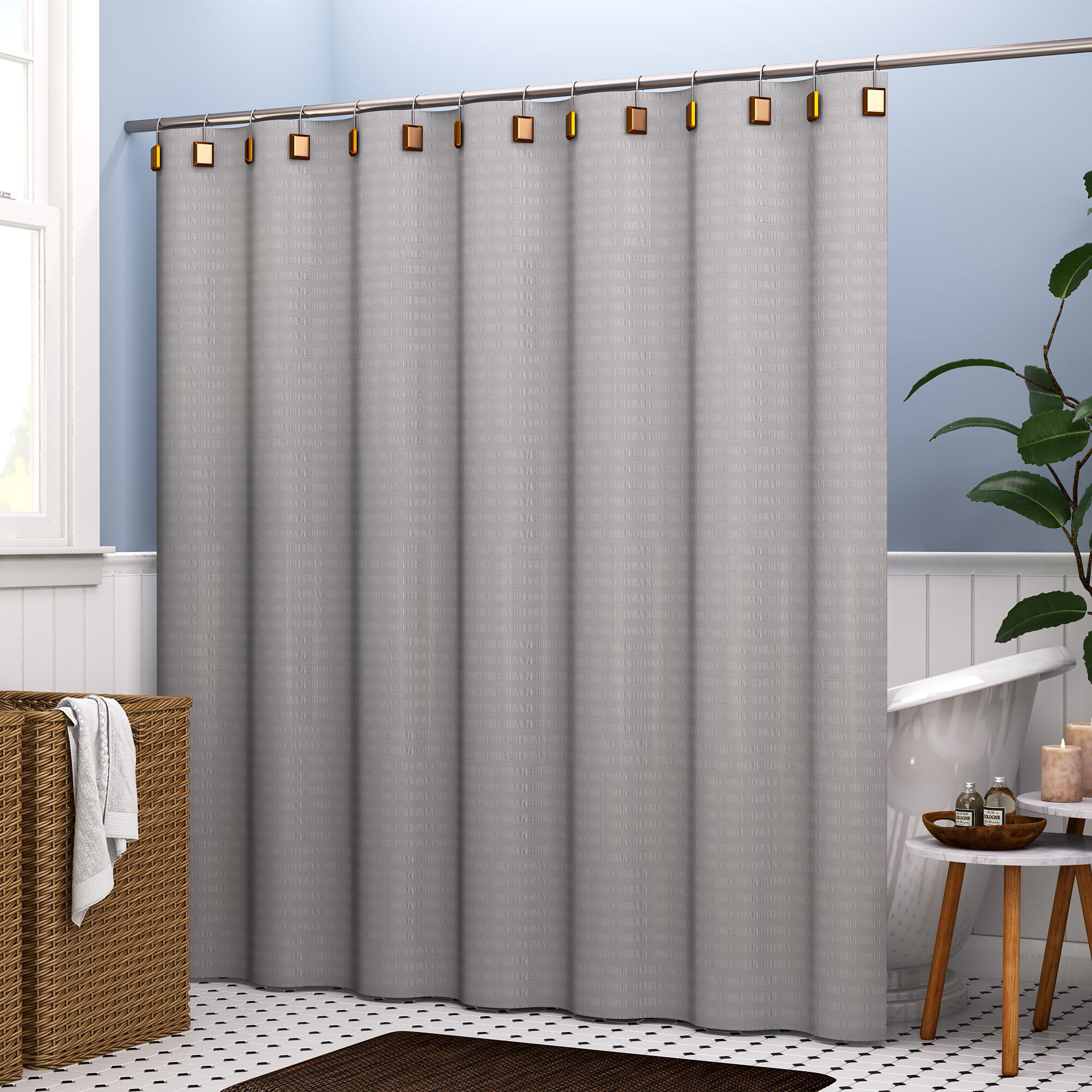 Brayden Studio Atencio Textured Stripes 100 Cotton Shower Curtain